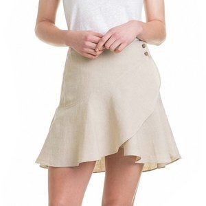 Country Road Beige French Linen Wrap Skirt 14